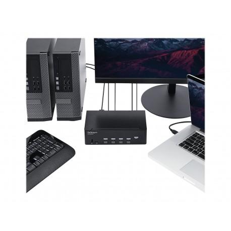 StarTech.com Switch Conmutador KVM de 4 Puertos HDMI - 4K de 30Hz - de Pantalla Doble