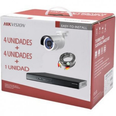 Hikvision - DVR + camera(s) - KIT DVR 4ch + 4 Bullet IP66 + 4 Rollos BNC 20mt + HDD 1TB
