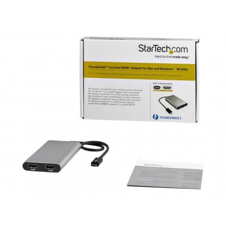 StarTech.com Adaptador Gráfico Thunderbolt 3 a Doble HDMI - 4K 60Hz - Compatible con Mac y Windows