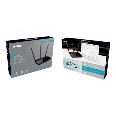 D-Link AC1750 High Power Wi-Fi Gigabit Router - Enrutador inalámbrico - conmutador de 4 puertos